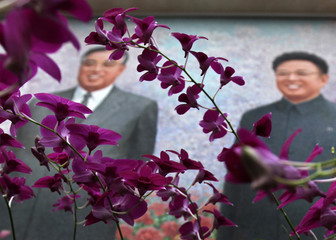 A painting featuring North Korean leader Kim Jong-il and his father Kim Il-sung is seen near Kimilsungia flowers in Pyongyang