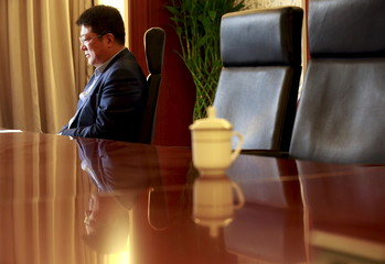 Tsinghua Unigroup chairman Zhao is pictured during an interview with Reuters at his office in Beijing