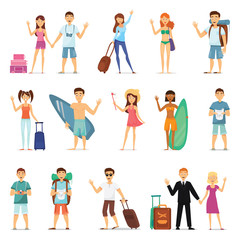People and couples travelling, surfing, leisure, hiking. Character design. Flat design vector.