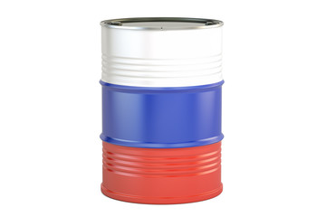 Oil barrel with flag of Russia. Oil production and trade concept, 3D rendering