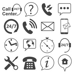 Call center icons set. Telecommunication service, information desk and customer assistant icons. Vector illustration