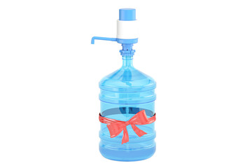 Water bottle with pump dispenser and with red bow, gift concept. 3D rendering