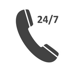 Phone icon 24/7, contact, call center, support service sign isolated on white background. Telephone, communication. Vector illustration