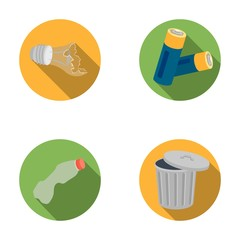 Broken light bulb, used batteries, breaking a plastic bottle, garbage can with a sign.Garbage and trash set collection icons in flat style vector symbol stock illustration web.