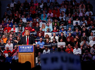 U.S. Republican presidential candidate Donald Trump speaks in Fort Wayne