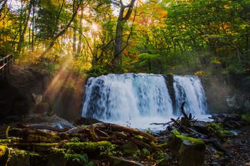 Idyllic Choshi-otaki Falls, Oirase Gorge, Aomori, Japan