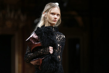 A model presents a creation by Irish designer Sharon Wauchob as part of her Fall/Winter 2014-2015 women's ready-to-wear collection show during Paris Fashion Week