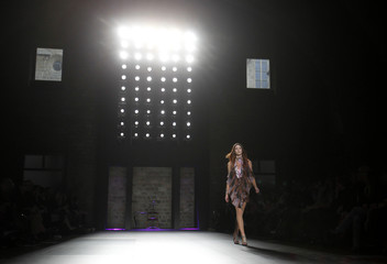 A model presents a creation from Juan Pedro Lopez during the 080 Barcelona Fashion show