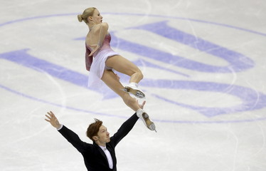 Evgenia Tarasova and Vladimir Morozov of Russia perform during the pairs free program at the ISU European Figure Skating Championship in Bratislava