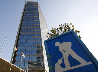 A road construction sign is pictured near Japan Airlines Corp's (JAL) headquarters in Tokyo