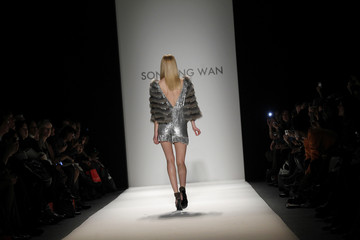 A model presents a creation from Son Jung Wan's Fall/Winter 2011 collection during New York Fashion Week