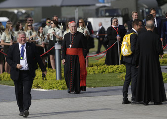 Cardinal Dziwisz, Archbishop of Krakow looks on as he waits for Pope Francis arrival to the Campus Misericordiae during World Youth Day in Brzegi near Krakow