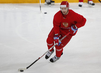Russian hockey player for the New Jersey Devils, Kovalchuk, skates during a team training session at the Hartwall Arena in Helsinki