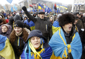 Protesters attend a demonstration in support of the EU integration at Independence Square in Kiev