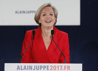 Juppe's deputy Mayor Virginie Calmels delivers a speech during a politcal rapport in support of a French politician Alain Juppe, current mayor of Bordeaux, a member of the conservative Les Republicains political party, in Bordeaux