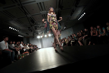 A model presents a creation by IKA as part of her Spring/Summer 2011 fashion show during Hong Kong Fashion Week