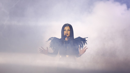 """Singer Sublatti representing Georgia performs the song """"Warrior"""" during the final of the 60th annual Eurovision Song Contest in Vienna"""
