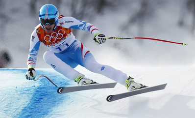 Austria's Mayer skis in the men's alpine skiing downhill race during the 2014 Sochi Winter Olympics at the Rosa Khutor Alpine Center