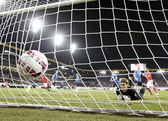 Goalkeeper Pareiko of Estonia fails to save a goal of Schar of Switzerland during their Euro 2016 Group E qualifying soccer match at Swisspore arena in Luzern
