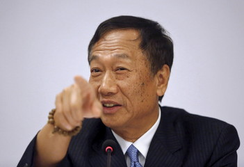 Gou, founder and chairman of Taiwan's Foxconn Technology, speaks during a news conference in New Delhi
