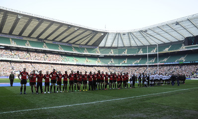 The Canterbury Crusaders and South Africas Sharks line up at Twickenham, London