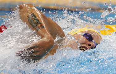 Sweden's Sarah Sjostrom swims in the women's 100m freestyle heats during the London 2012 Olympic Games at the Aquatics Centre