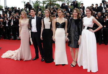 """Director Sofia Coppola and cast members arrive for the screening of the film 'The Bling Ring' in competition in """"Un certain Regard"""" selection during the 66th Cannes Film Festival"""