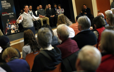 Republican presidential candidate and former Pennsylvania Senator Rick Santorum speaks to voters at a campaign stop in Dublin
