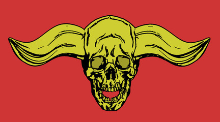 Skull of a human with horns. Vector illustration.