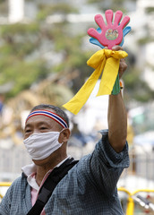 A supporter of the People's Alliance for Democracy (PAD) uses a noise maker during a rally near the Government house in Bangkok