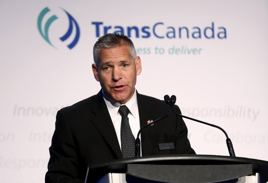 President and CEO Girling of TransCanada addresses shareholders during the company's annual general meeting in Calgary