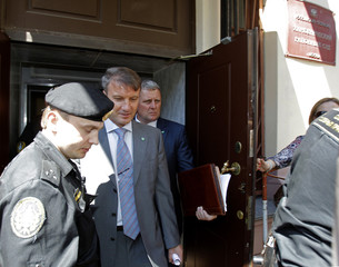 German Gref, chief executive of state-controlled Russian bank Sberbank, leaves after testifying at a Moscow court