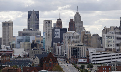 The skyline of Detroit looking south from the midtown area in Detroit, Michigan