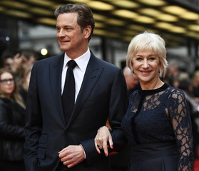 Colin Firth and Helen Mirren pose for photos at the UK premiere of Eye in the Sky, at a cinema in central London, Britain