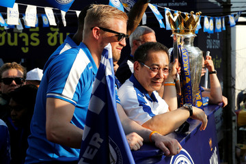 Leicester City soccer club's player Kasper Schmeichel and owner Vichai Srivaddhanaprabha are seen during a parade to celebrate club's English Premier League title in Bangkok