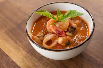 Homemade Calamari Fagioli Soup