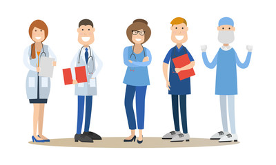 Group of medical doctors vector illustration in flat style
