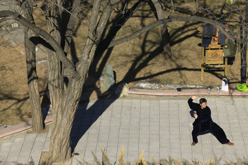 A resident practices Chinese martial arts on a a sunny day at Ritan Park in central Beijing