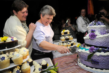 Rudd and Lambert cut their wedding cake before they are married at the stroke of midnight at the brink of Niagara Falls