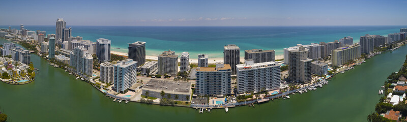 Aerial panorama Miami Beach Florida