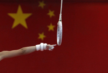 A boy tries to grab a gymnastics ring during a gymnastics class for children at the Shichahai Sports School in Beijing