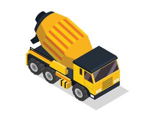 Modern Isometric Construction Vehicle Illustration - Cement Mixer Truck