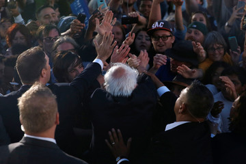 U.S. Democratic presidential candidate Sanders greets the crowd after a rally in Vallejo