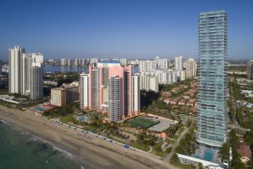 Aerial image of sunny Isles Beach Florida USA