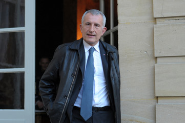 French state-owned railway company SNCF CEO Guillaume Pepy leaves the Hotel Matignon after a meeting about the future of the trans-Channel ferry company SeaFrance in Paris