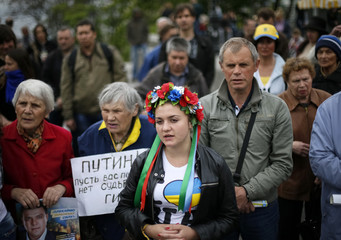 Pro-Ukrainian supporters attend a rally in the central Black Sea port of Odessa