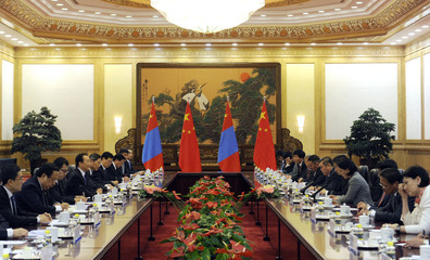 Chinese Prime Minister Wen attends a bilateral meeting with Mongolian PM Batbold at the Great Hall of the People in Beijing