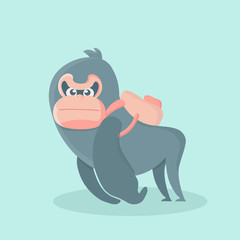 Vector illustration of a cute fatty and furry big cartoon gorilla.
