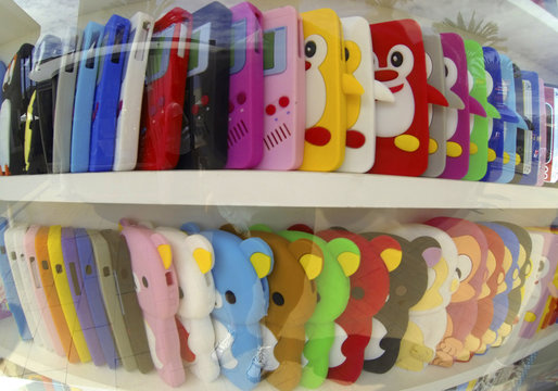 Assorted cell phone covers and designs are shown for sale at a shopping mall in La Jolla, California