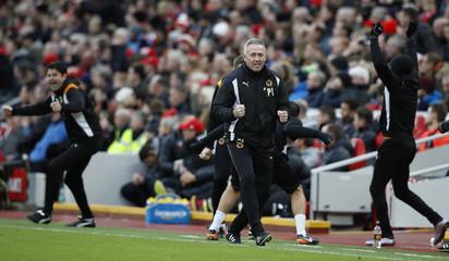 Wolverhampton Wanderers manager Paul Lambert celebrates their second goal